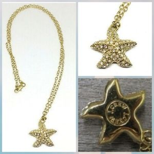 J. Crew Crystal Sea StarFish Gold Pendant